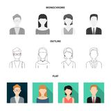 A man with a beard, a businesswoman, a pigtail girl, a bald man with a mustache.Avatar set collection icons in flat. Outline,monochrome style vector symbol Stock Image