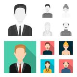 A man with a beard, a businesswoman, a pigtail girl, a bald man with a mustache.Avatar set collection icons in. Monochrome,flat style vector symbol stock Royalty Free Stock Photo