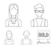 A man with a beard, a businesswoman, a pigtail girl, a bald man with a mustache.Avatar set collection icons in outline. Style vector symbol stock illustration Stock Photography