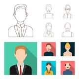 A man with a beard, a businesswoman, a pigtail girl, a bald man with a mustache.Avatar set collection icons in outline. Flat style vector symbol stock Royalty Free Stock Photography