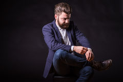 Man with beard, color portrait Stock Photos