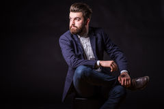 Man with beard, color portrait royalty free stock photography