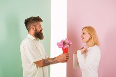 Man with beard congratulates woman birthday anniversary holiday. Hipster bearded give bouquet flowers to girlfriend royalty free stock photos