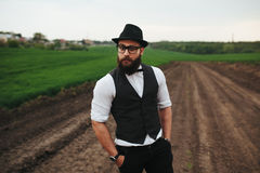 Man with beard on the field Royalty Free Stock Images