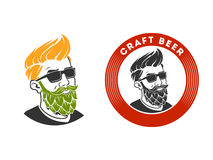 Man with beard in the form of hop vector emblem Stock Photo