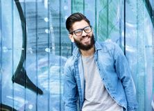 Man with beard and glasses laughing Stock Photos