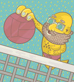 A man with a beard and glasses plays beach volleyball Royalty Free Stock Image