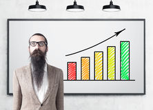 Man with beard and graphs, whiteboard Royalty Free Stock Images