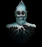 Man with beard head mountain Stock Image