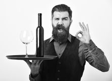 Man with beard holds bottle with alcohol on white background. Waiter with glass and bottle of wine on tray. Italian drink concept. Barman with flirty face Royalty Free Stock Photography