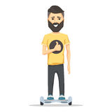 Man with beard on hoverboard Stock Photo
