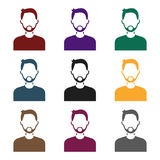 Man with beard icon in black style isolated on white background. Avatar symbol stock vector illustration. Royalty Free Stock Photo
