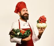 Man with beard isolated on white background. Healthy nutrition and cuisine concept. Cook with proud face in uniform. Man with beard isolated on white background stock image