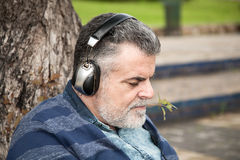 Man with beard listening to music. In a park Royalty Free Stock Photography