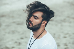 Man with beard and modern hairstyle Royalty Free Stock Image