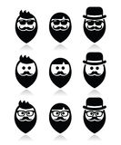 Man with beard with moustache or mustache, hipster icons set Royalty Free Stock Photos