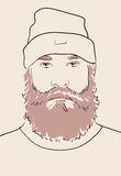 Man with beard and mustache. Face of a man with beard and mustache hand drawn vector illustration Royalty Free Stock Photo