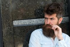 Man with beard and mustache on concentrated face, black marble background. Guy looks interested and curious. Masculinity Royalty Free Stock Photos