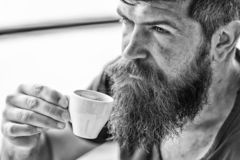 Man with beard and mustache and cup of coffee. Bearded guy relaxing at cafe terrace. Guy relaxing with espresso coffee stock photo
