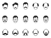 Man with beard and mustache icons set Royalty Free Stock Images