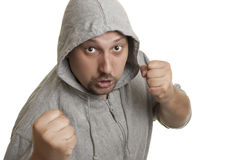 Man with a beard and mustache ready to fight Stock Images