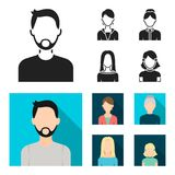 A man with a beard and mustache, a red-haired girl, an old woman, a blonde.Avatar set collection icons in black, flat. Style vector symbol stock illustration Stock Photo