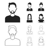 A man with a beard and mustache, a red-haired girl, an old woman, a blonde.Avatar set collection icons in black,outline. Style vector symbol stock illustration Royalty Free Stock Photography
