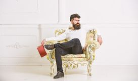 Man with beard and mustache sits on armchair, holds book, white wall background. Reflections on literature concept. Guy. Thinking about literature. Connoisseur stock image