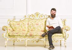 Man with beard and mustache sits on baroque style sofa, holds book, white wall background. Guy reading old book with. Enjoyment. Reader concept. Macho on royalty free stock photo