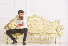 Man with beard and mustache sits on baroque style sofa, holds book, white wall background. Macho on strict face finished. Reading book. Reflections on stock photography