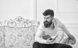 Man with beard and mustache sits on baroque style sofa, holds book, white wall background. Macho on strict face finished. Reading book. Guy thinking about stock photos
