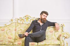 Man with beard and mustache spends leisure in luxury living room. Hipster on thoughtful face sits alone. Owner of luxury. Apartment sits on sofa, white wall royalty free stock photos