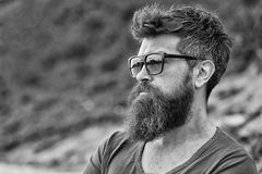 Man with beard and mustache on strict face, nature background, defocused. Bearded man wears modern sunglasses. Hipster stock photo