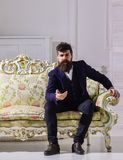 Man with beard and mustache wearing fashionable classic suit, sits on old fashioned couch or sofa. Fashion and style. Concept. Macho attractive and elegant on Stock Image