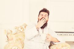 Man with beard and mustache yawns while sitting on old fashioned luxury armchair. Man sleepy in bathrobe drinks coffee. In luxury hotel in morning, white royalty free stock photography
