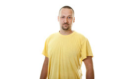 Man with a beard and mustache in yellow shirt Royalty Free Stock Images