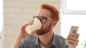 Man with Beard and Red Hairs Using Smartphone, Phone and Drinking Coffee, Tea. Creative designer , businessman stock video footage