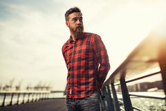 Man Beard Red Plaid Stock Images