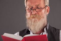 Man with beard reding a book Royalty Free Stock Images