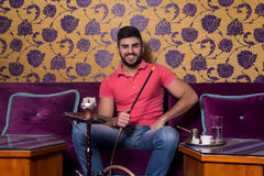 Man With Beard Relax Smoke Shisha Royalty Free Stock Photos