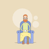 Man Beard Sitting In Armchair Holding Cup Tea Comfort Home Thin Line Royalty Free Stock Photo