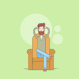 Man Beard Sitting In Armchair Relaxing Comfort Home Thin Line Stock Photo