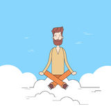 Man Beard Sitting On Cloud Mediation  Royalty Free Stock Photography