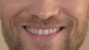 Man with beard smiling into camera, close-up of face, happiness and joy, emotion stock footage