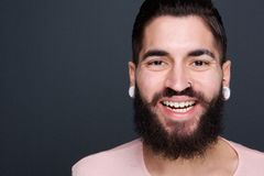 Man with beard smiling Stock Photo