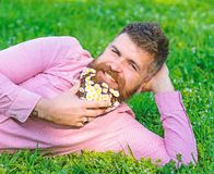 Man with beard on smiling face enjoy nature. Bearded man with daisy flowers lay on meadow, lean on hand, grass. Background. Hipster with daisies in beard looks stock photos