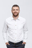 Man with beard standing  on isolated background Royalty Free Stock Photos