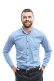 Man with beard standing on isolated  background Royalty Free Stock Photo