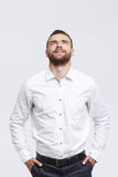 Man with beard standing and looking up Stock Images