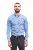 Man with beard standing and looking up Royalty Free Stock Photos